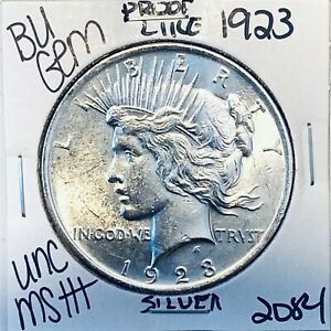 1923 P BU GEM PEACE SILVER DOLLAR UNC MS+ GENUINE U.S. MINT RARE COIN 2084