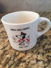 1972 BSA BOY SCOUTS COFFEE MUG CUP MOBILE AL AREA COUNCIL SCOUT HUNT SNOOPY
