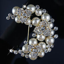 14k Gold GF pearls solid classy brooch pin with Swarovski crystals