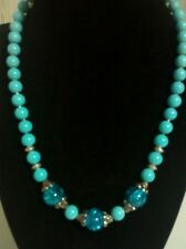 "Hand made 17"" blue necklace, made with glass beads & a toggle clasp."