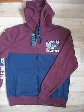 NEW MENS ECKO FULL LENGTH ZIP HOODIE HUDSON NAVY MAROON HOODY SIZE MEDIUM 38-41