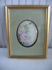 HandPainted Porcelain plaque in Shadow box frame PINK ROSES Violets Floral