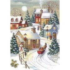 Xmas Snow Scene 5D Full Diamond Embroidery Painting DIY Cross Stitch Home Decor