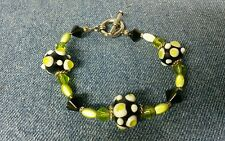 Handmade SilverTone Glass Bead Lampwork Toggle Bracelet