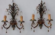 1950/70 Paire d'appliques au feuillage ananas Maison Bagués