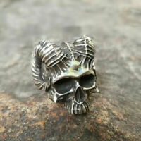 Satanic Skull Head Biker Ring Men's 316L Stainless Steel Ring Punk Jewelry