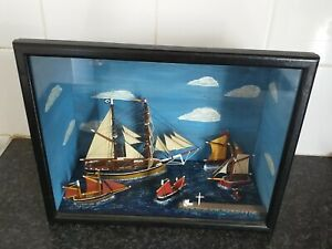 Vintage Diorama Ships in wooden box with glass