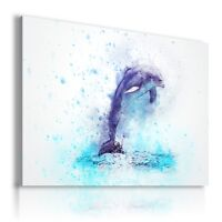 PAINTING DOLPHIN DRAWING ANIMALS PRINT CANVAS WALL ART PICTURE AB670 MATAGA .