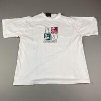 Vintage Peru 90's T Shirt Tourist Size large Men's White Graphic Art Museum