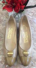 Salvatore Ferragamo Beige Leather Patent Leather Almond Toe Heel Shoes Sz 7B