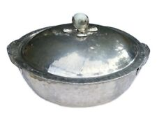 "Vintage Hammered Aluminum 8.5"" Covered Serving Bowl w Handles & Lid Glass Marble"
