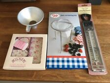 jam making kit, unused thermometer, straining kit, funnel and labels