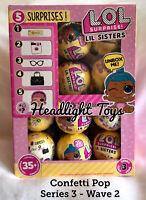 LOL Surprise Confetti Pop Box Case 23 Balls Series 3 Wave 2 Lil' Sister Dolls