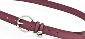 "Calvin Klein Womens BURGUNDY RED Genuine Leather BELT Silver Buckle 1""  SZ S NWT"