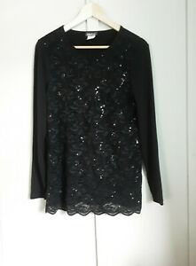 Kim&co Lace Long Sleeve Top Qvc Size Medium Colour Black