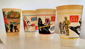 STAR WARS: EMPIRE STRIKES BACK/RETURN OF THE JEDI (1980s) four orginal COKE cups