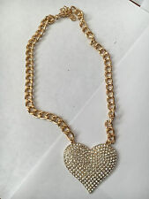 Heart Necklace Pendant Gold Chain Rhinestone Sparkling Crystal Love Fashion New