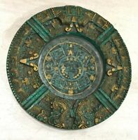 Aztec Mayan Mexican Design Malachite Green Cigarette Ashtray Felt Bottom Vintage