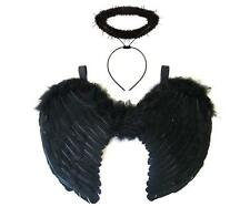 BLACK ANGEL FAIRY WINGS AND HALO DARK ANGEL FANCY DRESS GOTHIC HALLOWEEN COSTUME