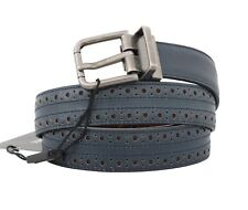 NEW $470 DOLCE & GABBANA Belt Blue Perforated Leather Gray Buckle s. 90cm / 36in