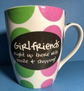 Pier One Mug Coffee Tea Pink/ Green/Brown Dots Girlfriends Booze Shopping