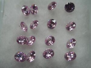 4mm pink cubic zirconia loose stones 10 stones £1.50p for jewellery making
