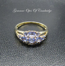 9ct Gold Tanzanite and Diamond Cluster Ring Size Q