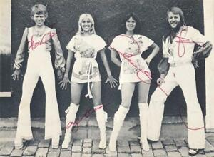 ABBA- Signed Vintage Picture Postcard from England Signed by 4 Band Members