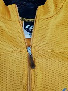 Louis Garneau Full Zip Cycling Jersey Yellow Black Long Sleeve Size Large