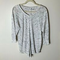 Chico's Weekends Women's Top Size 2 (Large, 12) 3/4 Sleeves White Gray Black