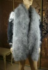 Mohair Hand Knitted Unisex Fluffy Silver Gray Long Lush Scarf Handmade