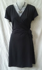 Target Size 16 Wrap Dress Black Stretch Cap Sleeve Work Office Casual Travel