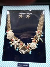 NWT Bella Perlina Expressions Collection Necklace Earrings Set Seashore Theme