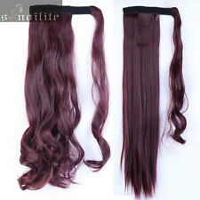 100% Real Thick Clip In Human Remy Hair Extensions Pony Tail Wrap On Ponytail HG