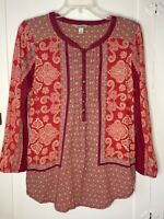 Lucky Brand Women's Maroon Red Print Tunic 3/4 sleeve, Medium M Top