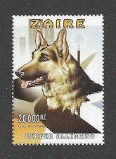 Art Head Portrait Postage Stamp GERMAN SHEPHERD DOG ALSATIAN Zaire Congo MNH