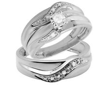 10K White Gold Real Diamond Solitaire Engagement Bridal Ring Trio Set 0.25ct