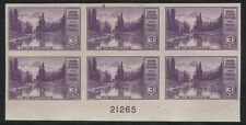 US #758 VF MNH IMPERF FARLEY PLATE #21265 BLOCK OF 6 WITH NO GUM AS ISSUED