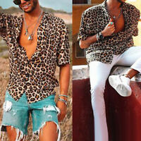 FT- Men's Leopard Print Short Sleeve Turn Down Collar V Neck Shirt Loose Top New
