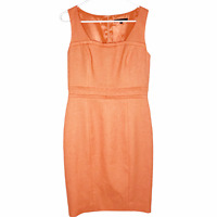 David Meister Women's Textured Sleeveless Knee Length Sheath Dress Orange 6