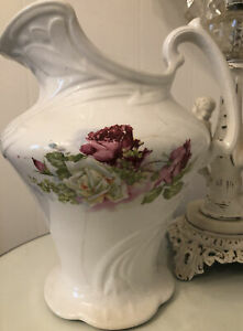 Beautiful Large Antique Ironstone Pitcher Roses Decals Cottage Chic