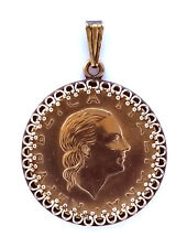 Italy 200 Lire Woman Portrait Pendant Gold Colored Vintage Necklace Jewelry