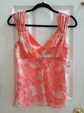 Tahari Silk Coral Butterfly Sleeveless Top Blouse V Neck-women size S- Brand New