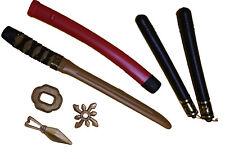 5 teiliges Ninja Set ROT Krieger Schwert Nunchaku Kung Fu Wurfstern Japan Waffe