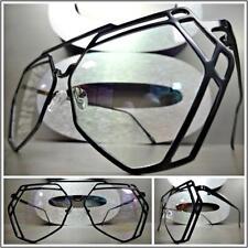 OVERSIZED VINTAGE RETRO Style Clear Lens EYE GLASSES Black Metal Hexagon Frame
