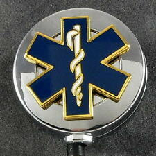 Chrome Star of Life EMS EMT Retractable Security ID Card Badge Holder Reel