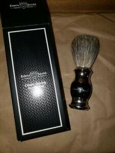 Edwin Jagger 81SB356 - Ebony Pure Badger Hair Shaving Brush with Nickel Plated