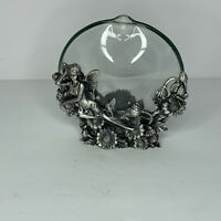 Vintage 1990s Pewter And Glass Fairy Bud Vase Gift