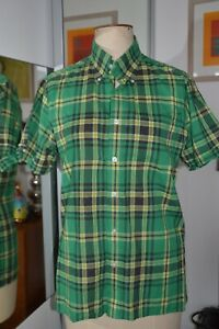 brutus Trimfit shirt green check Vintage Small 38 chest approx
