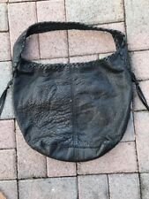 Lucky Brand Black Leather Slouchy Hobo Bag Purse Brown Stitching